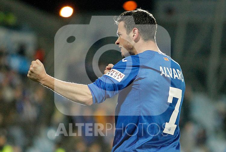 Getafe's Alvaro Vazquez celebrates during La Liga match. February 01, 2013. (ALTERPHOTOS/Alvaro Hernandez)