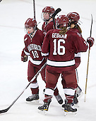 Gina McDonald (Harvard - 10), ?, Marissa Gedman (Harvard - 16) - The Harvard University Crimson defeated the Northeastern University Huskies 4-3 (SO) in the opening round of the Beanpot on Tuesday, February 8, 2011, at Conte Forum in Chestnut Hill, Massachusetts.