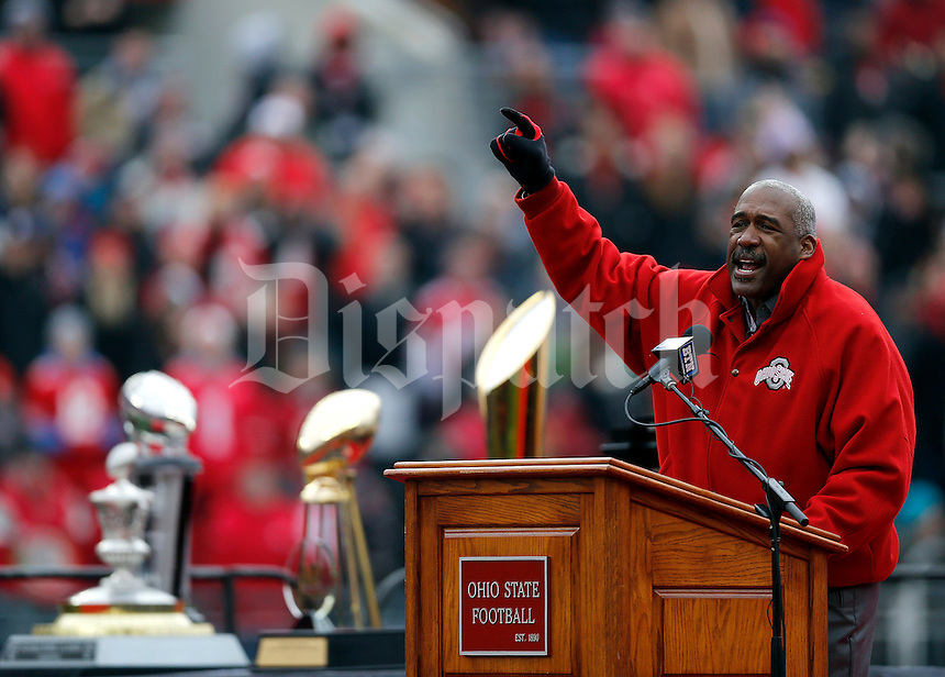 Ohio State athletic director Gene Smith speaks during the Ohio State football National Championship celebration at Ohio Stadium on Saturday, January 24, 2015. (Columbus Dispatch photo by Jonathan Quilter)