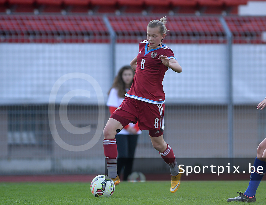 20150406 - MELUN , FRANCE  : Russian Olga Chernova pictured during the soccer match between Women Under 19 teams of Iceland and Russia , on the second matchday in group 3 of the UEFA Elite Round Women Under 19 at Stade Municipal , Melun , France . Monday 6th April 2015 . PHOTO DAVID CATRY