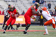 College Park, MD - October 27, 2018: Maryland Terrapins running back Anthony McFarland (5) follows his block during the game between Illinois and Maryland at  Capital One Field at Maryland Stadium in College Park, MD.  (Photo by Elliott Brown/Media Images International)