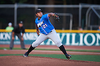 Hudson Valley Renegades pitcher Angel Yepez (21) delivers a pitch during a game against the Vermont Lake Monsters on September 3, 2015 at Centennial Field in Burlington, Vermont.  Vermont defeated Hudson Valley 4-1.  (Mike Janes/Four Seam Images)