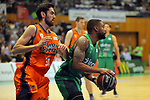 League ACB-ENDESA 2017/2018. Game: 30.<br /> Divina Seguros Joventut vs Valencia Baket Club: 77-75.<br /> Joan Sastre vs Patrick Richard.