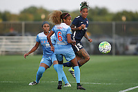Piscataway, NJ - Saturday Aug. 27, 2016: Samantha Johnson, Casey Short, Tasha Kai during a regular season National Women's Soccer League (NWSL) match between Sky Blue FC and the Chicago Red Stars at Yurcak Field.