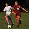 Katie Buquicchio #13 of Deer Park moves a ball downfield during a Suffolk County varsity girls soccer gameagainst host North Babylon High School on Wednesday, Oct. 4, 2017. North Babylon won by a score of 2-1.