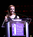 Kristy Altomare on stage at the 73rd Annual Theatre World Awards at The Imperial Theatre on June 5, 2017 in New York City.