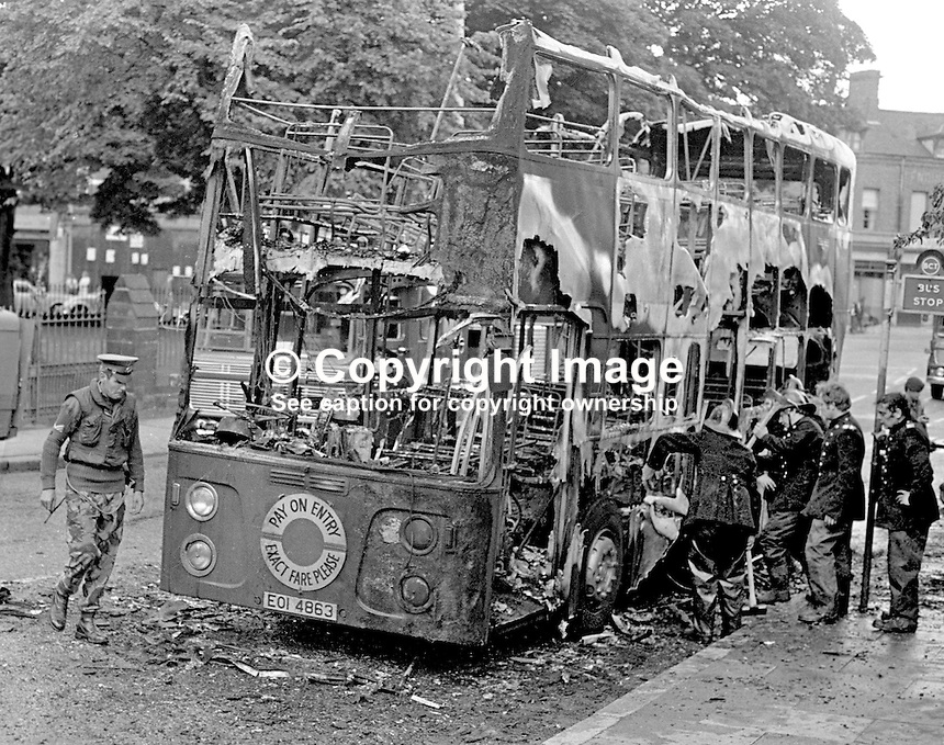 This bus was one of seven hijacked and burnt  in the space of one hour in Belfast, N Ireland, UK. Five people suffered burns, one seriously. The attacks were claimed by the Provisional IRA. It happened on 4 July 1974. With Orange Order parades during July it is usually a month of heightened tensions. 197307040473.<br />