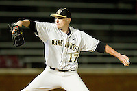 Wake Forest Demon Deacons relief pitcher John McLeod #17 in action against the Florida State Seminoles at Wake Forest Baseball Park on March 24, 2012 in Winston-Salem, North Carolina.  The Seminoles defeated the Demon Deacons 3-2.  (Brian Westerholt/Four Seam Images)