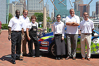 Team Baltimore Racing showed off their entry into the Baltimore Grand Prix at the Maryland Science Center on Tuesday along with some of their sponsors such as Morton's Steakhouse who unvieled their Grand Prix lunch special available during the race weekend.