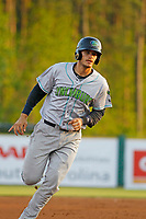 Lynchburg Hillcats catcher Martin Cervenka (13) running the bases during a game against the Myrtle Beach Pelicans at Ticketreturn Field at Pelicans Ballpark on April 14, 2017 in Myrtle Beach, South Carolina. Lynchburg defeated Myrtle Beach 5-2. (Robert Gurganus/Four Seam Images)