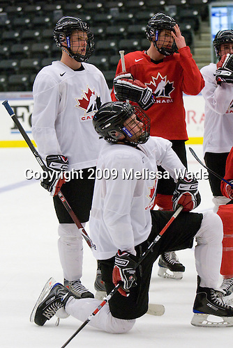 Dylan Olsen (Canada - 12), Brett Connolly (Canada - 8), ? - Team Canada practiced at the Urban Plains Center in Fargo, North Dakota, on Saturday, April 18, 2009, their off day before the bronze medal game during the 2009 World Under 18 Championship.