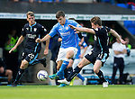 St Johnstone v Dundee...13.09.14  SPFL<br /> Adam Morgan is closed down by Jim McAlister and Simon Ferry<br /> Picture by Graeme Hart.<br /> Copyright Perthshire Picture Agency<br /> Tel: 01738 623350  Mobile: 07990 594431