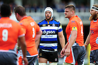Dave Attwood of Bath Rugby looks on during a break in play. Aviva Premiership match, between Bath Rugby and Newcastle Falcons on September 10, 2016 at the Recreation Ground in Bath, England. Photo by: Patrick Khachfe / Onside Images