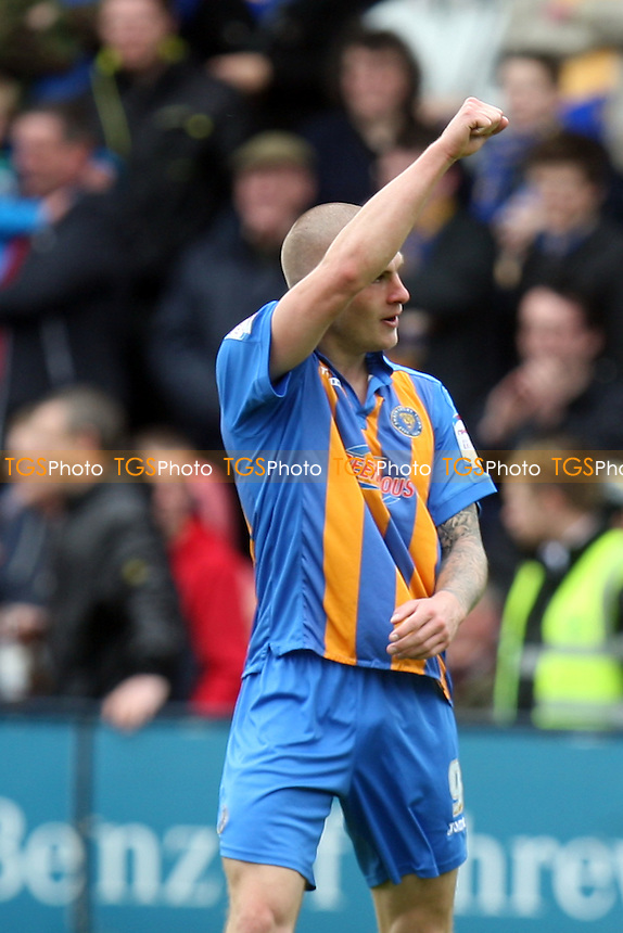 James Collins of Shrewsbury Town celebrates scoring the opening goal -  Shrewsbury Town vs Dagenham at the Greenhous Meadow Stadium - 28/04/12 - MANDATORY CREDIT: Dave Simpson/TGSPHOTO - Self billing applies where appropriate - 0845 094 6026 - contact@tgsphoto.co.uk - NO UNPAID USE.