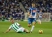 30th October 2017, Cornella-El Prat, Cornella de Llobregat, Barcelona, Spain; La Liga football, Espanyol versus Real Betis; Leo Baptistao of Espanyol drives forward after skipping over a challenge