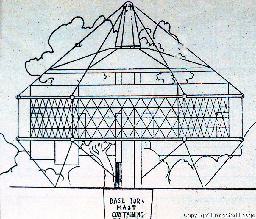 R. Buckminster Fuller: Dymaxion House, Elevation, 1927.  Photo '77.