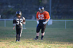 Two football players face each other during football practice at Mountain View Elementary in Hyden, Ky., on Wednesday, October 9, 2013. Photo by Eleanor Hasken