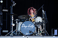 LONDON, ENGLAND - JUNE 30: Julie Edwards of 'Deap Vally' performing at Finsbury Park on June 30, 2018 in London, England.<br /> CAP/MAR<br /> &copy;MAR/Capital Pictures