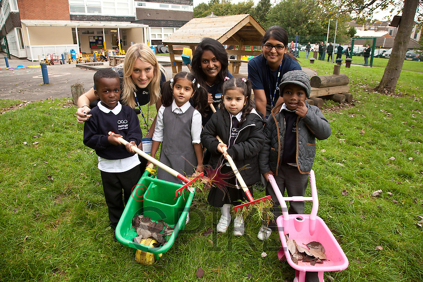 Pictured from left are Deloitte staff Clare Smith, Rouku Sanassy and Varsha Heerasing with youngsters Chordé Dunkley. 4, Maaria Anwar, 5, Kany Jalil, 3 and Joel Coleman, 4.