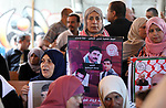 Palestinians take part in a protest in solidarity with prisoners in Israeli jails, in front of the Red cross office, in Gaza city on on September 16, 2019. Photo by Mahmoud Ajjour