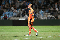 17th November 2019; Jubilee Oval, Sydney, New South Wales, Australia; A League Football, Sydney Football Club versus Melbourne Victory; Goalkeeper Lawrence Thomas of Melbourne Victory looks at the video screen after Adam le Fondre of Sydney scores for 1-1 in the 61st minute