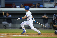 Michael Massey (6) of the Burlington Royals follows through on his swing against the Pulaski Yankees at Burlington Athletic Stadium on August 25, 2019 in Burlington, North Carolina. The Yankees defeated the Royals 3-0. (Brian Westerholt/Four Seam Images)
