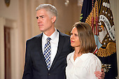 United States President Donald J. Trump announces  Judge Neil Gorsuch as his nominee to be Associate Justice of the US Supreme Court to replace Justice Antonin Scalia in the East Room of the White House in Washington, DC on Tuesday, January 31, 2017.  Gorsuch's wife Marie Louise looks on.<br /> Credit: Ron Sachs / CNP