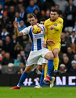 Chelsea's Mateo Kovacic (right) battles with Brighton &amp; Hove Albion's Dale Stephens (left) <br /> <br /> Photographer David Horton/CameraSport<br /> <br /> The Premier League - Brighton and Hove Albion v Chelsea - Sunday 16th December 2018 - The Amex Stadium - Brighton<br /> <br /> World Copyright &copy; 2018 CameraSport. All rights reserved. 43 Linden Ave. Countesthorpe. Leicester. England. LE8 5PG - Tel: +44 (0) 116 277 4147 - admin@camerasport.com - www.camerasport.com