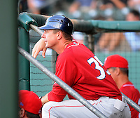 Manager Chris Truby (35) of the Lakewood BlueClaws, Class A affiliate of the Philadelphia Phillies, in a game against the Greenville Drive on July 12, 2011, at Fluor Field at the West End in Greenville, South Carolina. (Tom Priddy/Four Seam Images)