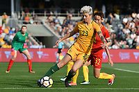 26 November 2017, Melbourne - MICHELLE HEYMAN (23) of Australia controls the ball during an international friendly match between the Australian Matildas and China PR at GMHBA Stadium in Geelong, Australia.. Australia won 5-1. Photo Sydney Low