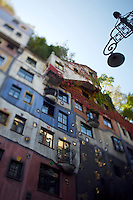 Fall colors at the Hundertwasserhaus, the first and most famous public housing project by Austrian artist and architekt Friedensreich Hundertwasser.
