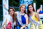 New Zealand Rose, Niamh O'Sullivan, Southern California Rose, Claire McManamon and London Rose, Caoimhe Gallagher at The Rose of Tralee parade on Saturday night.