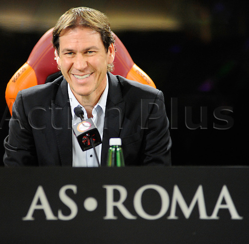 19.12.2015. Technical Center Fulvio Bernardini, Rome, Italy. Press Conference AS Roma, shows coach Rudi Garcia discussing the next game versus Genoa on Sunday 20th December
