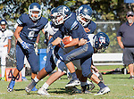 Palos Verdes, CA 09/24/16 - Luke Wagner (Chadwick #7) and Zach Goodman (Chadwick #22) in action during the non-conference CIF 8-Man Football  game between Rolling Hills Prep and Chadwick at Chadwick.