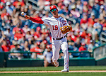 14 April 2018: Washington Nationals third baseman Matt Reynolds gets the first out in the 6th inning against the Colorado Rockies at Nationals Park in Washington, DC. The Nationals rallied to defeat the Rockies 6-2 in the 3rd game of their 4-game series. Mandatory Credit: Ed Wolfstein Photo *** RAW (NEF) Image File Available ***