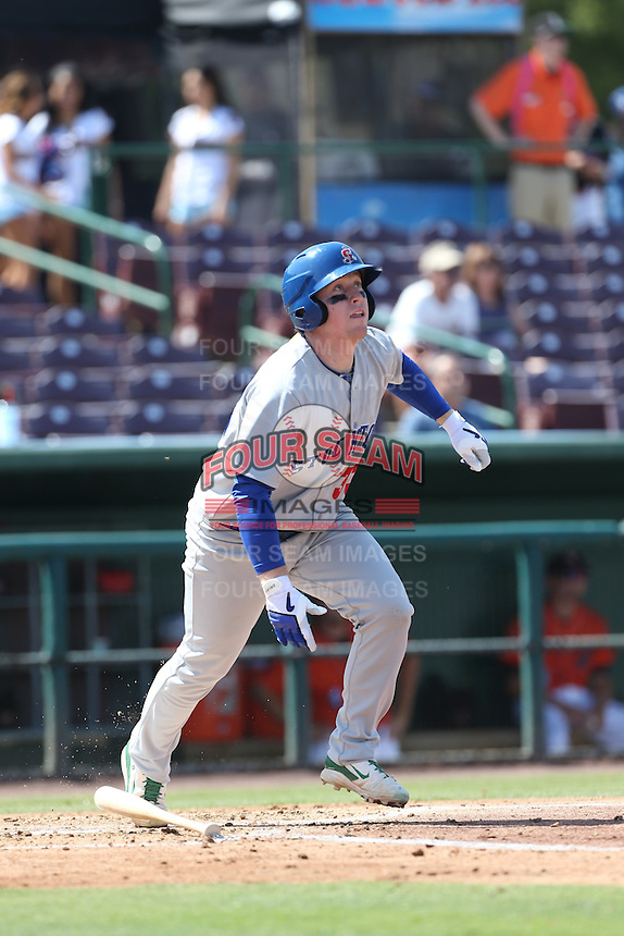 John Nogowski (33) of the Stockton Ports bats during a game against the Inland Empire 66ers at The Hanger on April 11, 2015 in Lancaster, California. San Jose defeated Lancaster, 8-3. (Larry Goren/Four Seam Images)