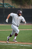 Ronnie Gideon (33) of the Texas A&M Aggies runs to first base during a game against the Pepperdine Waves at Eddy D. Field Stadium on February 26, 2016 in Malibu, California. Pepperdine defeated Texas A&M, 7-5. (Larry Goren/Four Seam Images)