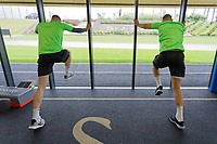 Pictured: Swansea City players during the Swansea City FC training session at the Fairwood training ground in Swansea, Wales, UK Saturday 29 June 2019Saturday 29 June 2019<br /> Re: Swansea City FC training, Fairwood, near Swansea, Wales, UK