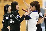 (L to R) Yumie Funayama, Ayumi Ogasawara,(Fortius), Miyo Ichikawa (Chuden), SEPTEMBER 17, 2013 - Curling : Olympic qualifying Japan Curling Championships Women's Final forth Mach between Fortius 8-5 Chuden at Dogin Curling Studium, Sapporo, Hokkaido, Japan. (Photo by Yusuke Nakanishi/AFLO SPORT)