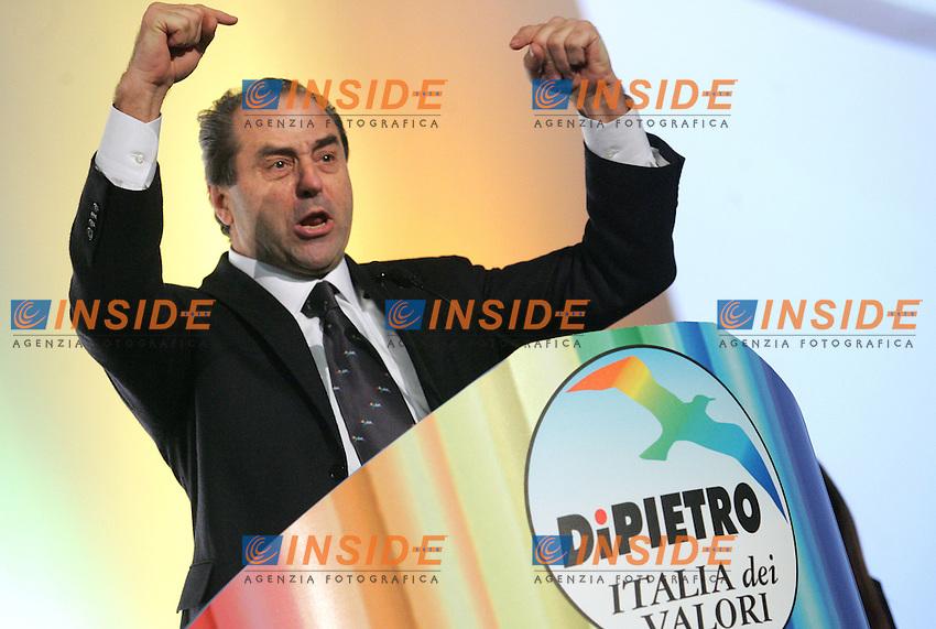 ANTONIO DI PIETRO<br /> Roma 06/02/2010 Primo congresso nazionale dell'IDV, Italia dei Valori.<br /> First congress of Italia dei Valori.<br /> Photo Samantha Zucchi Insidefoto