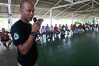 André Freitas da Natura durante o IV Encontrão  para dar continuidade a implantação do protocolo comunitário no Arquipélago do Bailique  na foz do rio Amazonas, Amapá, Brasil.Foto Paulo Santos 12/06/2015