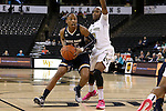 18 February 2016: Notre Dame's Lindsay Allen (15) and Wake Forest's Amber Campbell (2). The Wake Forest University Demon Deacons hosted the University of Notre Dame Fighting Irish at Lawrence Joel Veterans Memorial Coliseum in Winston-Salem, North Carolina in a 2015-16 NCAA Division I Women's Basketball game. Notre Dame won the game 86-52.