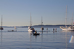 stand up paddlers, kayaker, rower, Puget Sound, boats at anchor, Port Townsend, Wooden Boat Festival, sunrise, Salish Sea, Washington State, Pacific Northwest, United States,