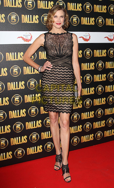 Brenda Strong.The Channel 5 Launch Party for the new series of 'Dallas', Old Billingsgate Market, London, England..21st August 2012.full length black dress lace gold open toe sandals clutch bag silver hand on hip.CAP/ROS.©Steve Ross/Capital Pictures.