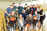 Wazp Basketball Tralee playing wheelchair basketball in John Mitchel's Sports Complex on Friday. <br /> Front l to r: Mairama Kobal, Maria Panuli, Johnny Quaid, Daniel Barrett and Jenny McAuliffe.<br /> Back l to r: Joe Flynn, Kevin Pryor, Darragh Sheehan, Luki Heron, Jack Sheehan, Erik Alcala, Quentin Genesta, Shane Hassett and Clare Moore.