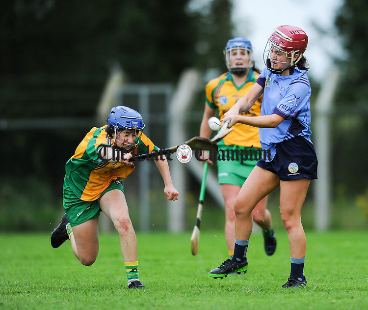 Andrea O Keeffe of Inagh-Kilnamona in action against Roisin Begley of Truagh-Clonlara during their first round senior championship game in Shannon. Photograph by John Kelly