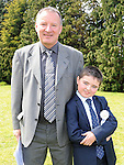 Sean Griffith from St Josephs school who recieved first holy communion at St Josephs Church Mell pictured with his dad Peter. Photo: Colin Bell/pressphotos.ie