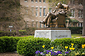 Washington Duke statue on East campus with Tulips, springtime