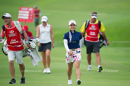 Chie Arimura (JPN),.MARCH 3, 2013 - Golf :.Chie Arimura of Japan walks with her caddie during the final round of the HSBC Women's Champions at Sentosa Golf Club in Singapore. (Photo by Haruhiko Otsuka/AFLO)