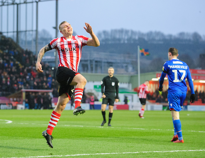 Lincoln City's Harry Anderson celebrates scoring the opening goal<br /> <br /> Photographer Chris Vaughan/CameraSport<br /> <br /> The EFL Sky Bet League Two - Saturday 15th December 2018 - Lincoln City v Morecambe - Sincil Bank - Lincoln<br /> <br /> World Copyright © 2018 CameraSport. All rights reserved. 43 Linden Ave. Countesthorpe. Leicester. England. LE8 5PG - Tel: +44 (0) 116 277 4147 - admin@camerasport.com - www.camerasport.com